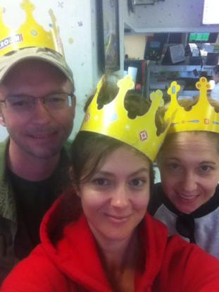Bacon and Nugget really wanted us to stop for Burger King crowns along the way.